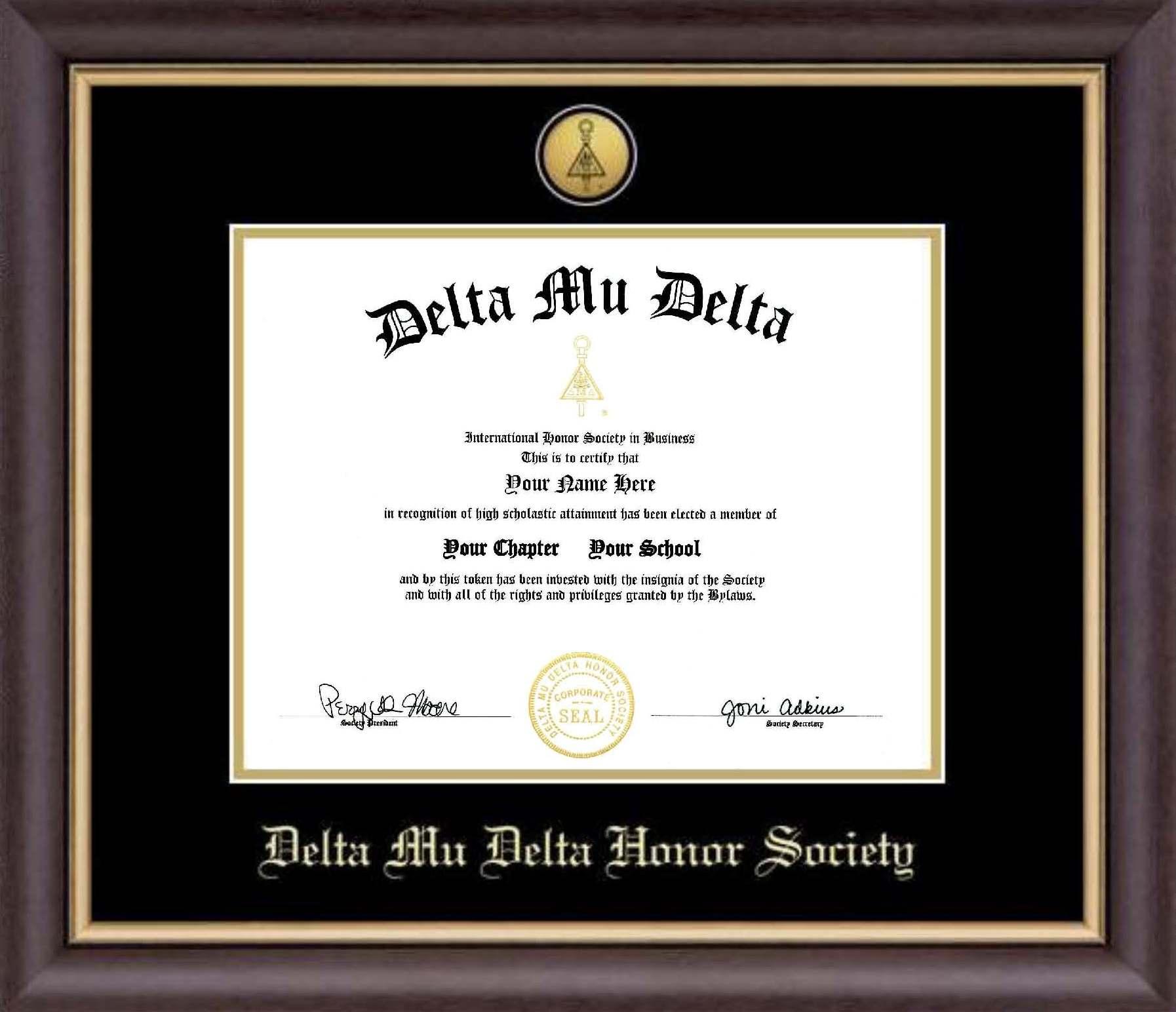 Framed Certificate Delta Mu Delta International Honors Society